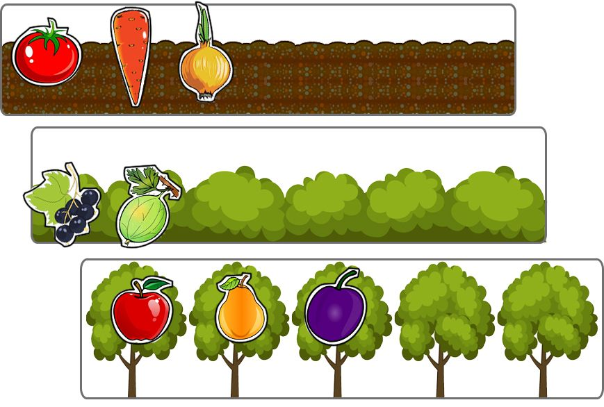 Овощи и фрукты. 3 сортировки | Обучающие игры для ...