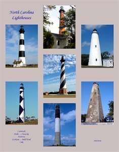 the lighthouses of North Carolina. I loved them all. Each one was a surprise. I always thought light houses were white, period.