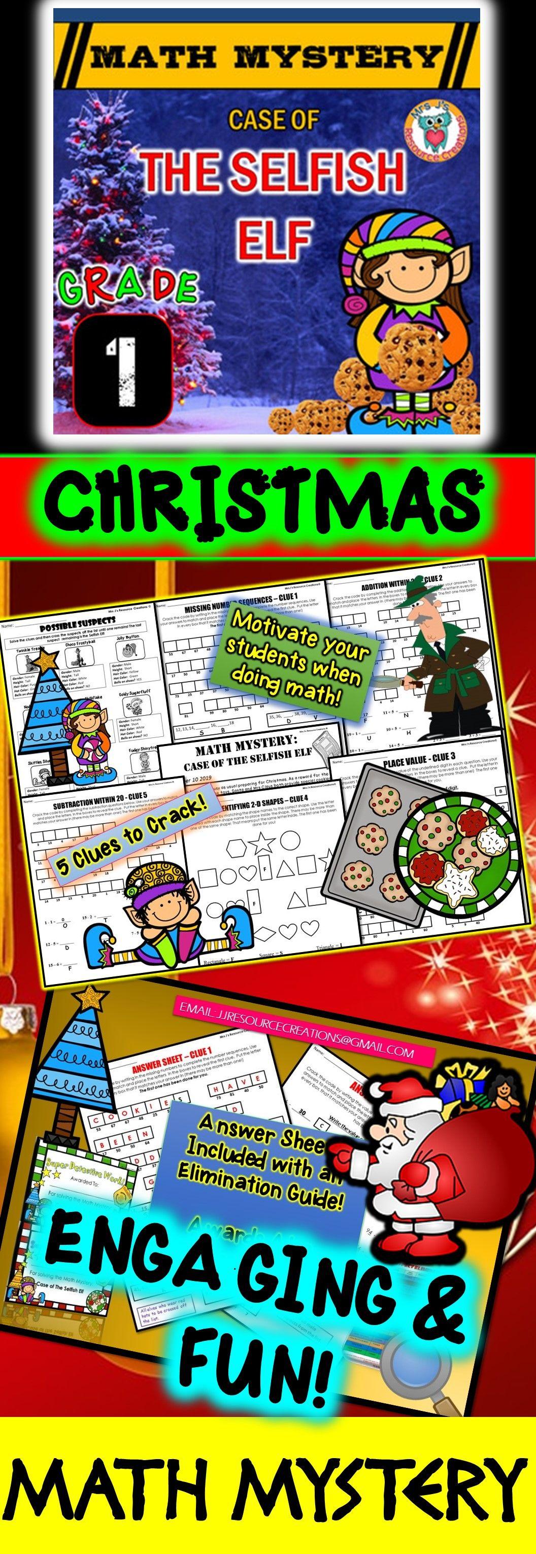 1st Grade Christmas Activity Christmas Math Mystery Case