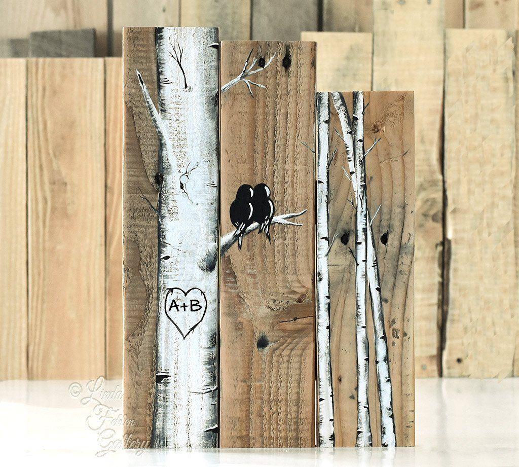 Rustic farmhouse style love birds on birch tree painting