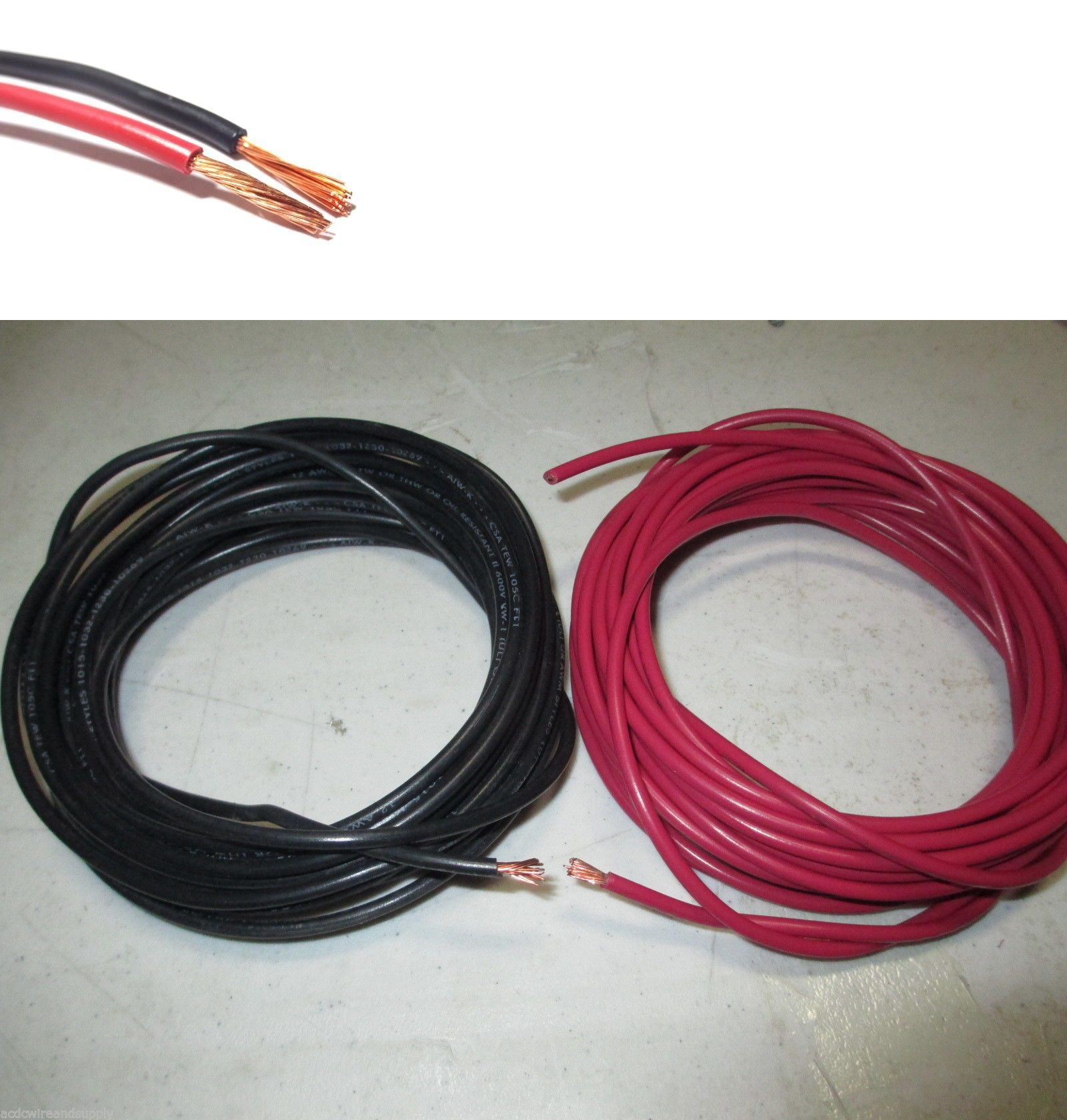 Power and Speaker Wire: 12 Gauge Wire Red And Black 100 Ft Each ...