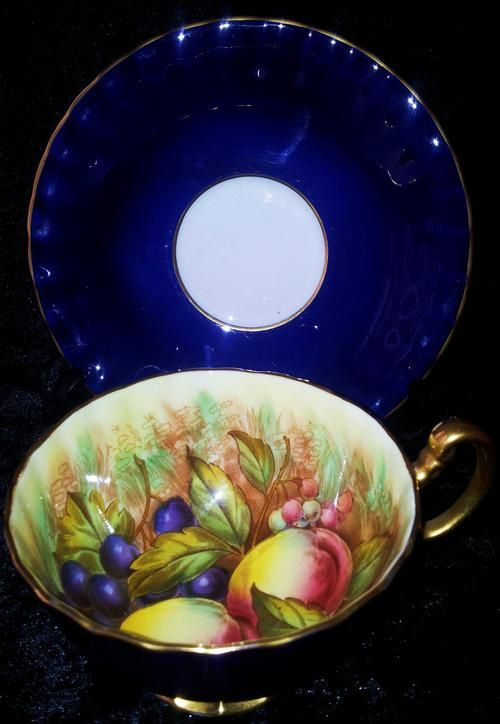 English Porcelain - ***RARE!***COBALT BLUE AYNSLEY ORCHARD FRUITS TEA CUP & SAUCER GOLD GILT DUO,SIGNED! for sale in Pietermaritzburg (ID:225787257)