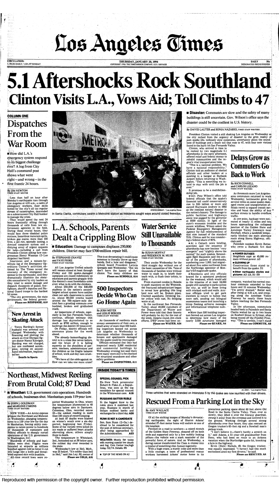 The Los Angeles Times Front Pages In The Days Following 1994 Northridge Earthquake In 2020 Northridge Earthquake Northridge Earthquake