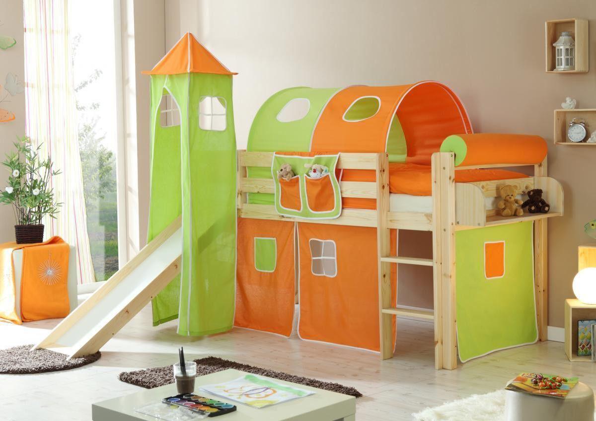 Ticaa Rutschbett Mit Turm Kasper Kiefer Natur Orange Grün Jetzt Bestellen  Unter: Https: