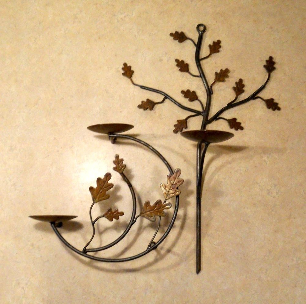 Wall Sconce Candle Holder Pair Metal Rustic Brown Copper Tone Leaves ...