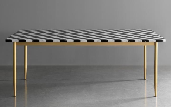 Black And White Herringbone Marble And Brass Dining Table By Bethan Gray