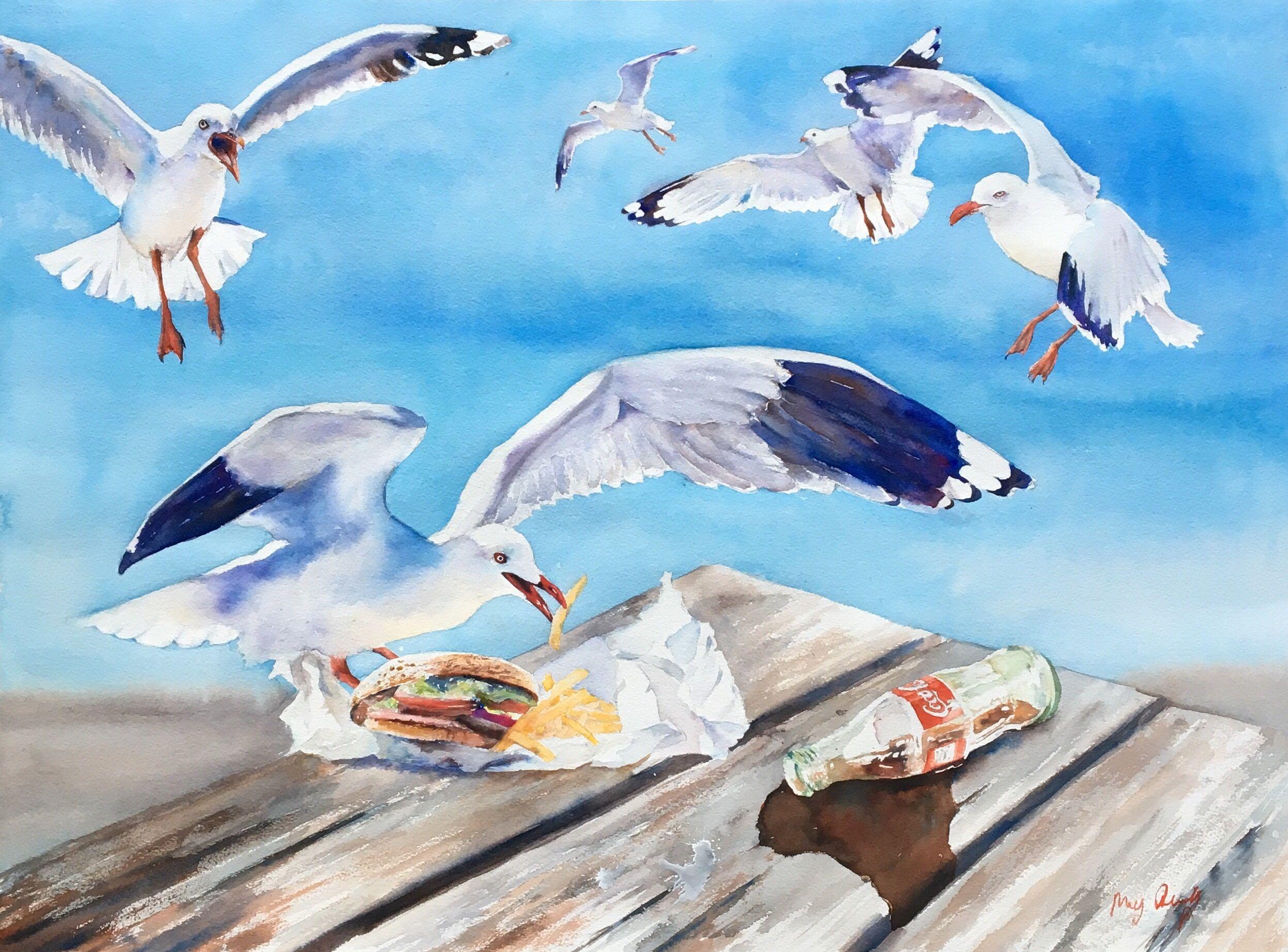 "Seagulls Picnic"" - FOR SALE Original watercolour by Meg Quilty | Watercolor  artist, Original watercolors, Original watercolor painting"