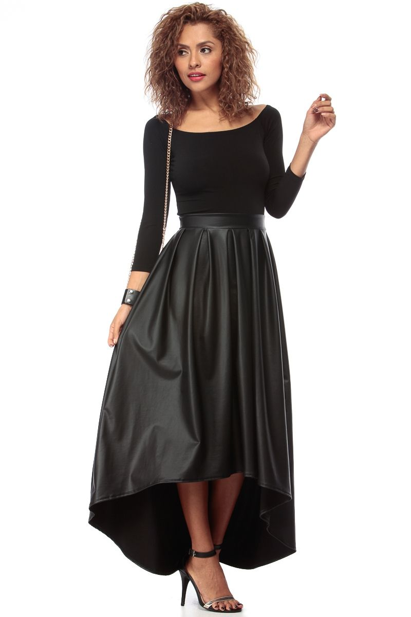 Black faux leather off shoulder high low maxi dress cicihot sexy