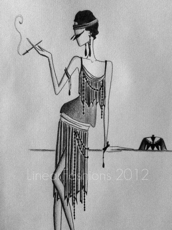 1920s Fashion Illustration Art Deco Flapper Sketch Etsy Art Deco Clothing Art Deco Illustration 1920s Art Deco