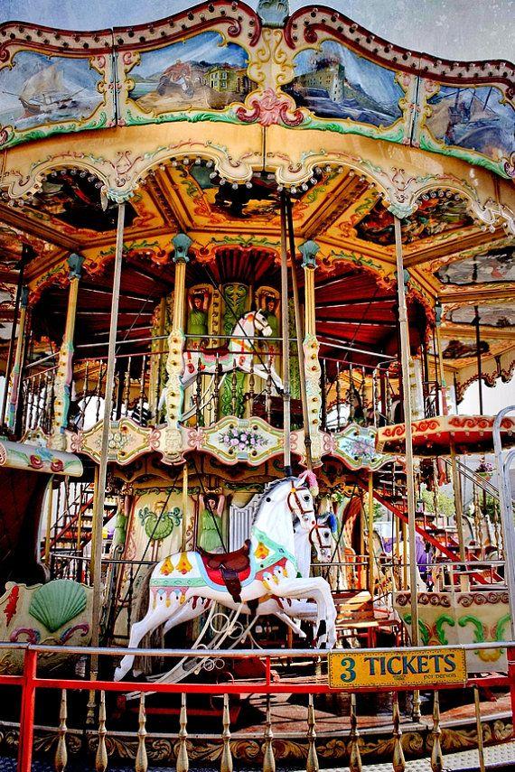 Double Decker Carnival Carousel Ride Fine Art Print Or Canvas Wrap