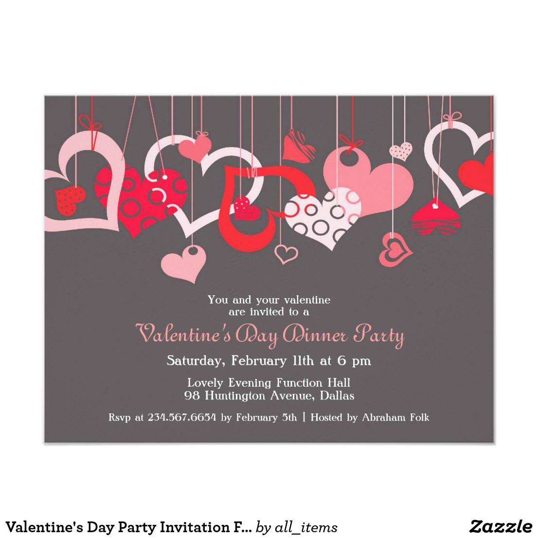 Valentine S Day Party Invitation Flat Card Zazzle Com