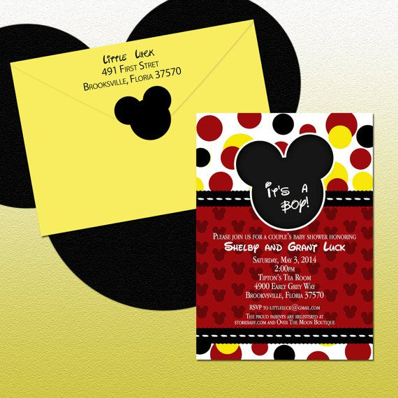 DIY Mickey Mouse Polka Dots Shower Invitations. Custom Request Only, $10.00