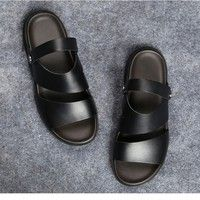 a1fcb0fe5 Men Summer Sandals Leather Vintage Flat Heel Solid Buckle Beach ...
