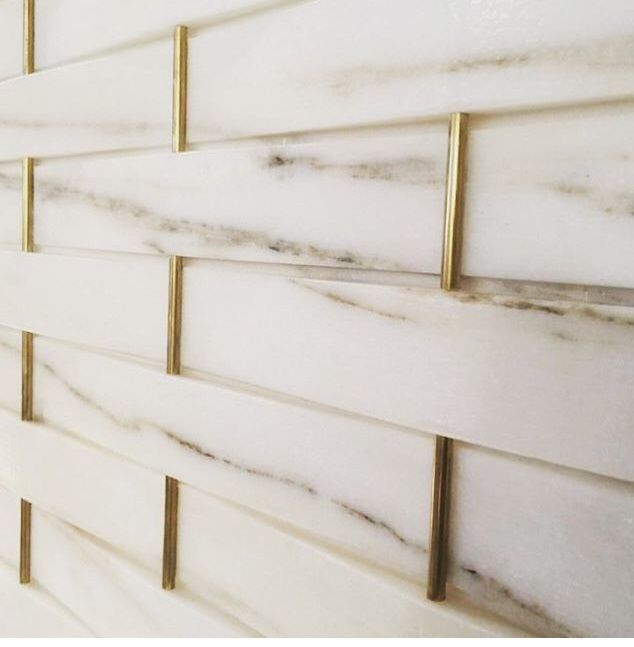 Kitchen Backsplash Marble W Gold Schluter Strips In 2019