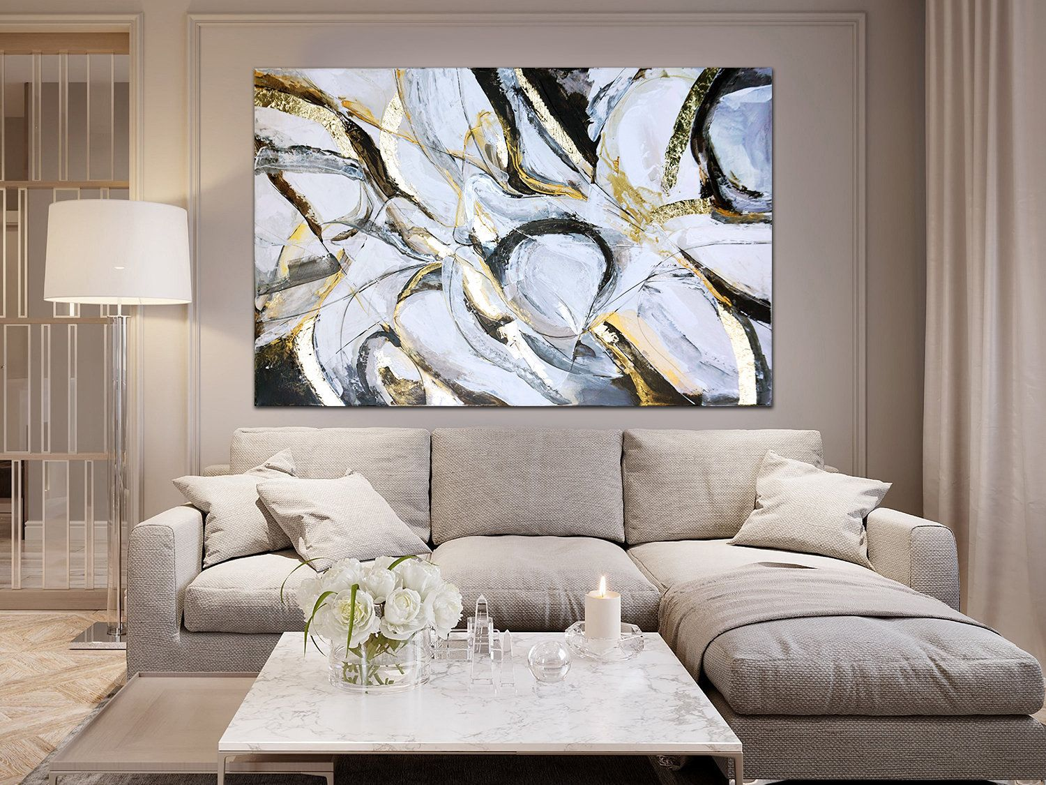 new wave ii contemporary abstract painting large on modern acrylic paintings for living room id=78685