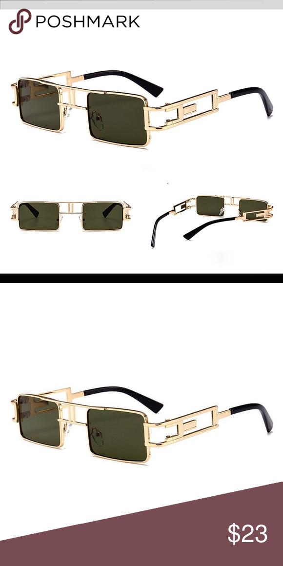 1ce5c9203191 Men s Gold Rectangular Frame Green Sunglasses Men s Gold Rectangular Frame  Green Sunglasses Frame Material  Alloy Lens Color  Green Lens Shape   Rectangle ...