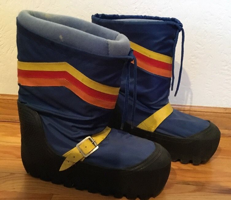 Vintage 70s 80s Moon Boots Blue Rainbow Snow Skiing Size 10 Mens
