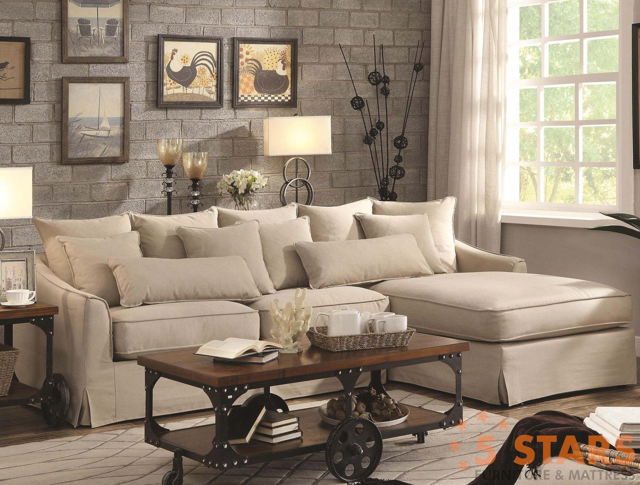 Knottley Slipcovered Sectional Sofa With Chaise And Feather Blend Cush 5 St
