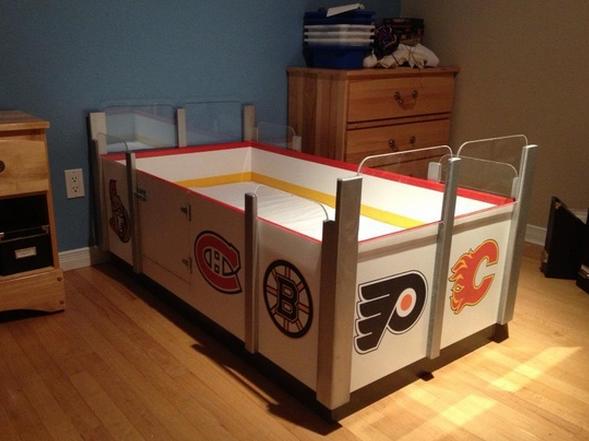 Like The Rink Idea For Hockey Themed Bedroom Walls. Custom Hockey Bed    Kids Hockey