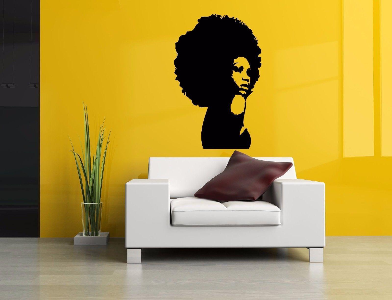Wall Room Decor Art Vinyl Sticker Mural Decal Afro Girl Black Woman ...
