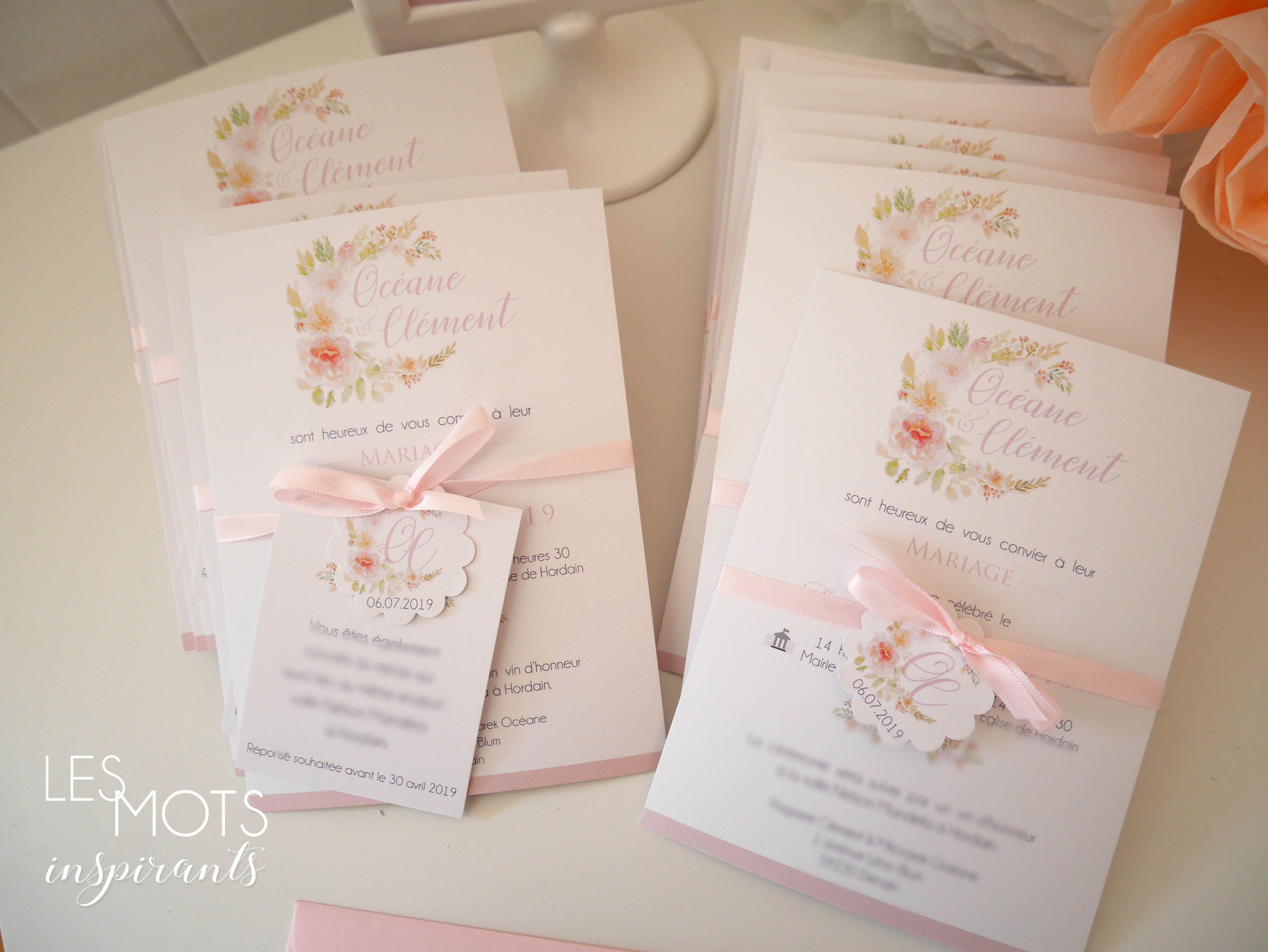 Faire-part mariage champêtre fleurs, invitation mariage fleurs, faire part mariage aquarelle,faire part moderne, enveloppe comprise