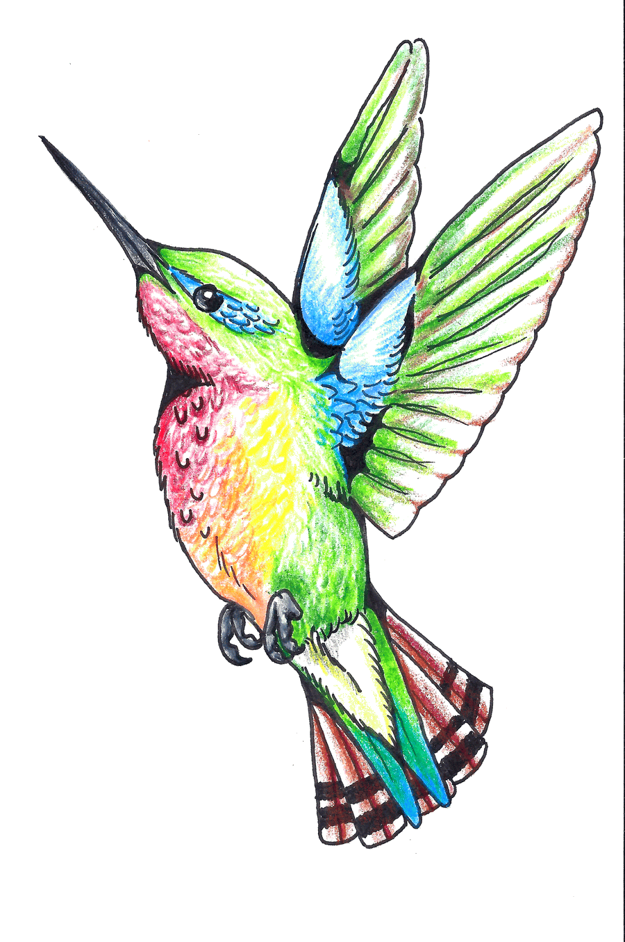 35850fb97d7d6 Classic Colorful Flying Hummingbird Tattoo Design | hummer art ...