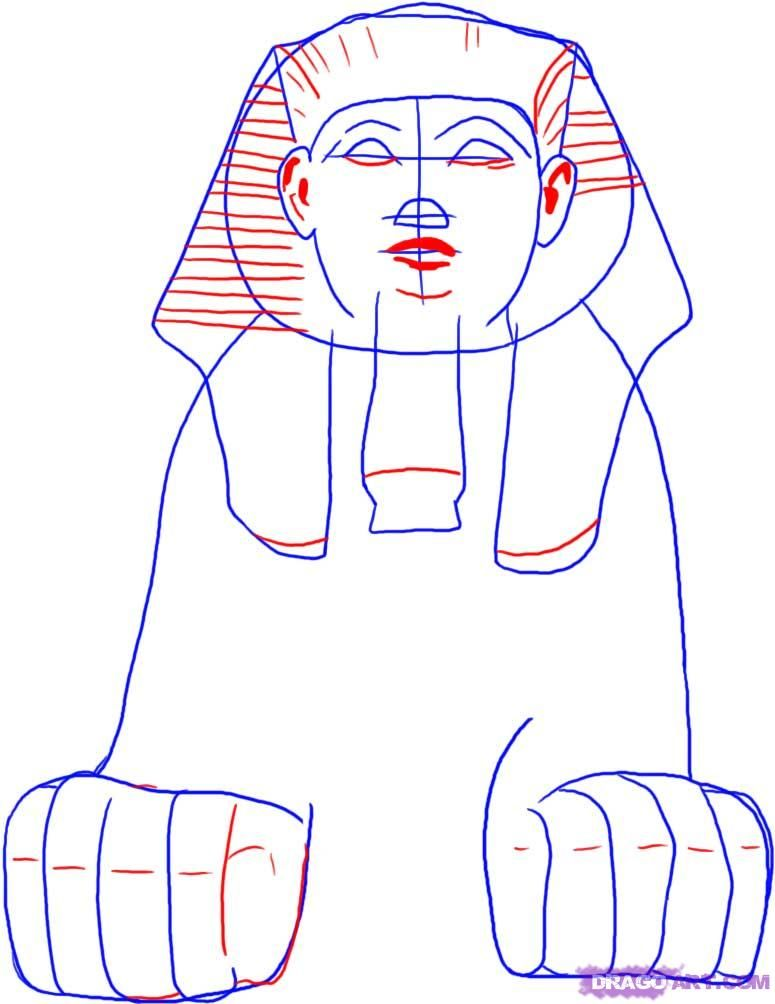 how to draw an egyptian sphinx step 4