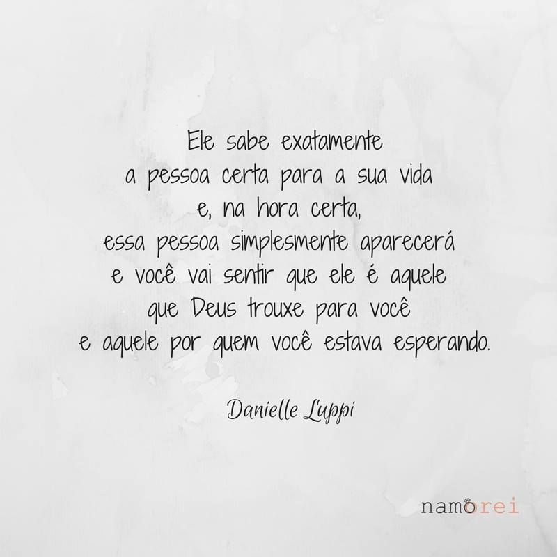 Danielle Luppi Frase Amor Pessoa Certa Deus Namoro Cristão