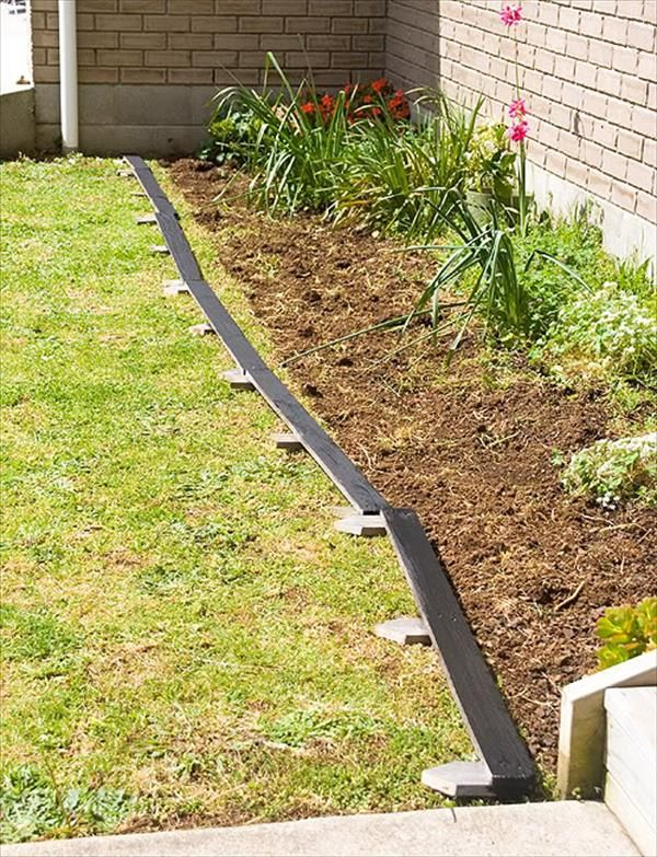 DIY Pallet Garden Bed Edging Garden edging, Garden beds
