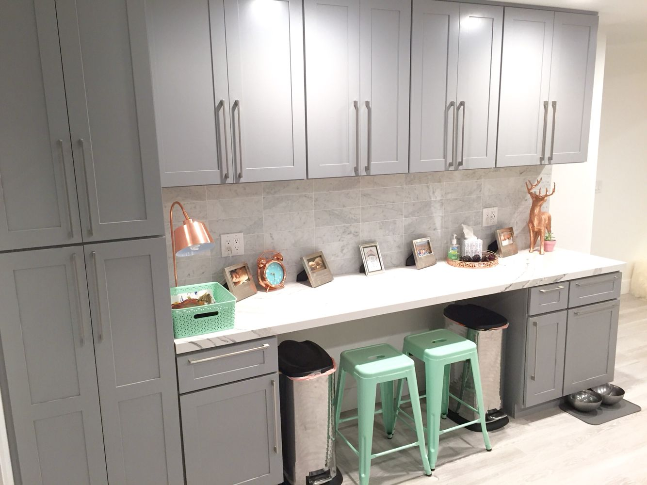 Homeschool work station copper and mint gray cabinets straight straight lay carrara marble subway tile back splash doublecrazyfo Image collections