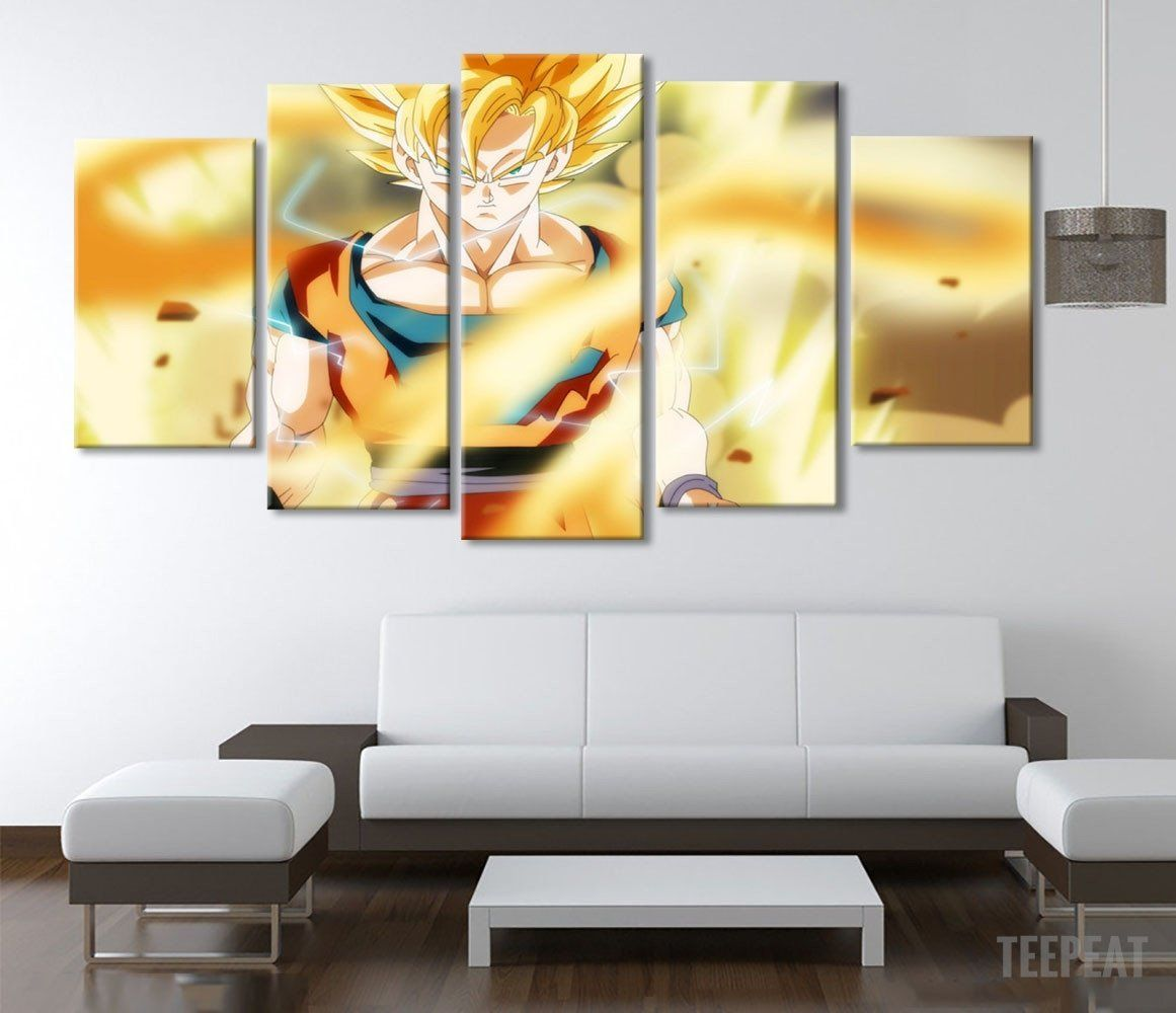 SSJ Fighting - 5 Piece Canvas Painting | Canvases, Dragons and ...