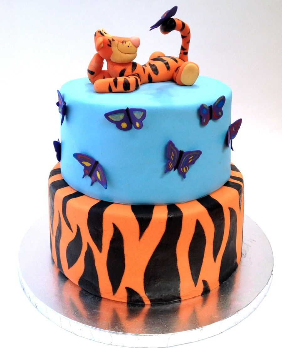 Tigger Cake With Purple Butterflies on Cake Central 3rd birthday