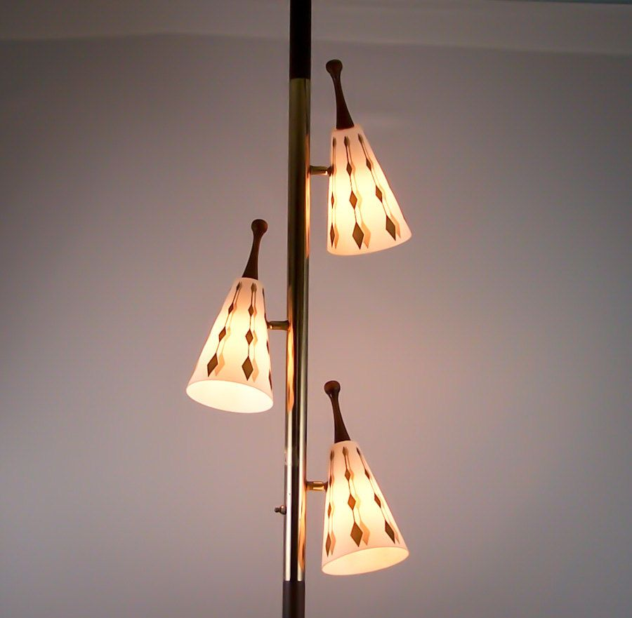 Lamp Ceiling To Floor: Vintage Tension Pole Lamp Eames Era Gold Cone Globes Floor