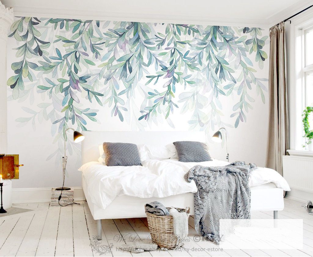 Details About Green Leaves Removable Wall Mural Sticker