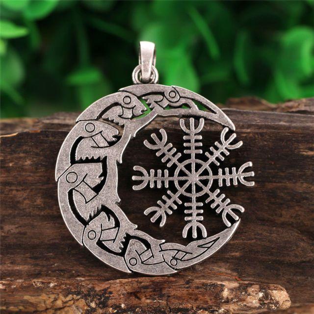 Valknut viking odins symbol helm of awe raven moon symbol pendant valknut viking odins symbol helm of awe raven moon symbol pendant necklace ebay aloadofball Images
