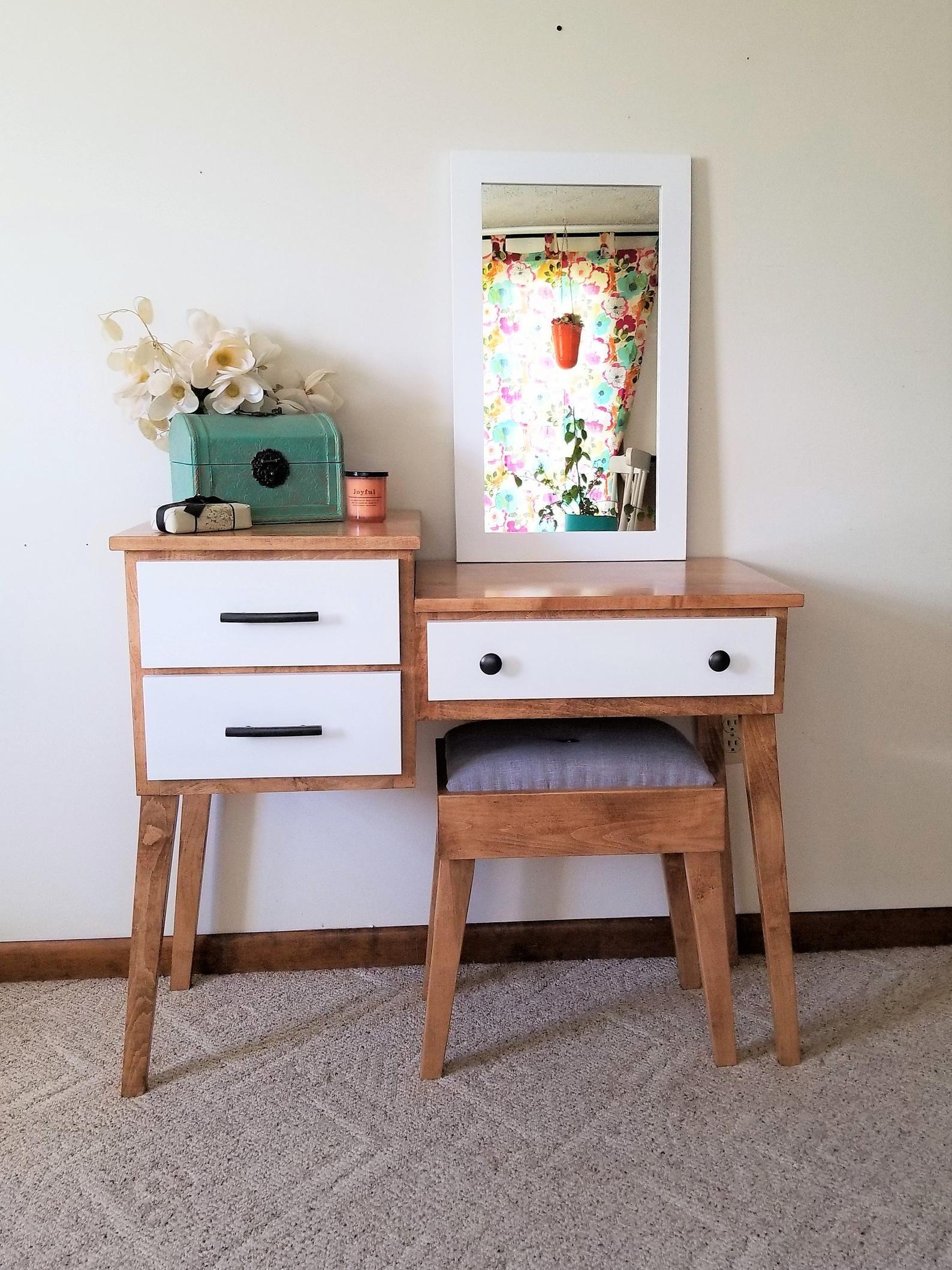 Mid Century Modern Makeup And Vanity Table By Meagans Mood Etsy Mid Century Modern Vanity Modern Vanity Table Minimalist Bedroom Design
