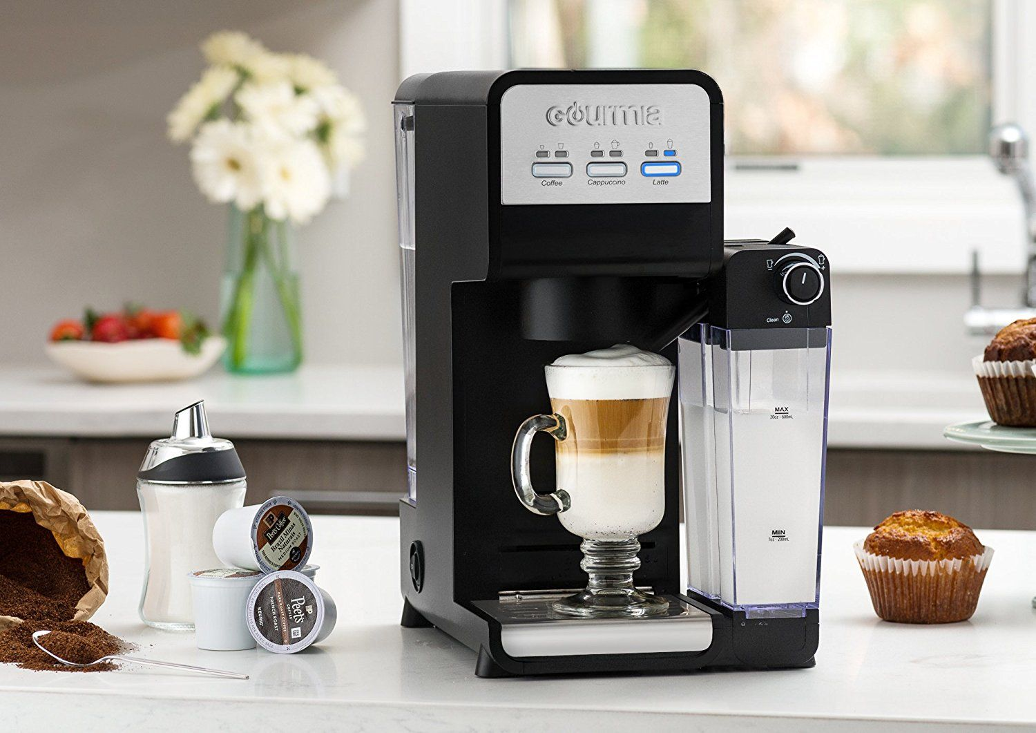 Gourmia GCM4000 3 In 1 Single Serve, One Touch KCup