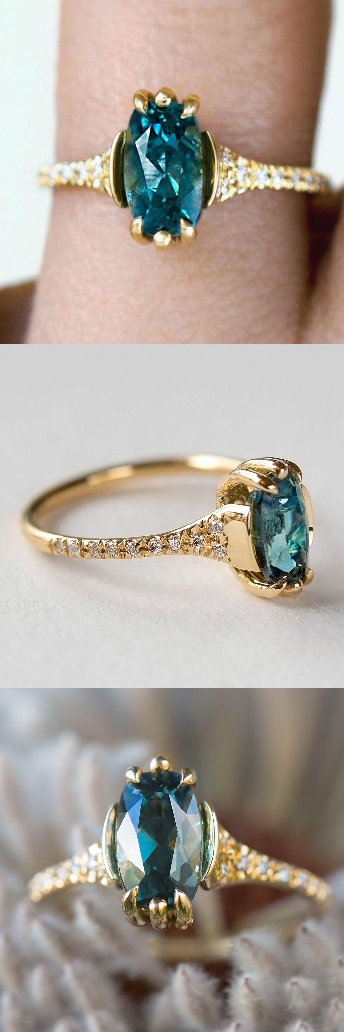 Teal Montana Sapphire Cushion Pavlova Ring Engagement