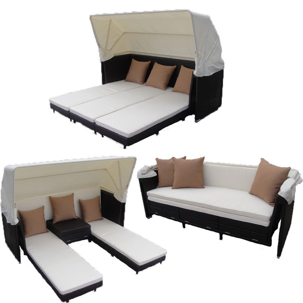 outdoor wicker patio furniture curacao multi use canopy bed black wicker - Multi Canopy Decor