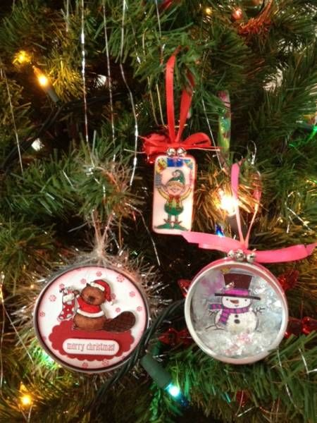 Ornaments made from Doninos, Frozen Juice can lids & Michael's Favor Tins by HappiLeaStamppin on Splitcoaststampers.com