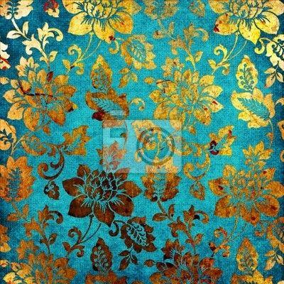 Wall mural golden -blue vintage - retro • PIXERSIZE.com