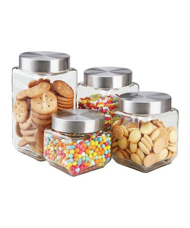 Home Basics square glass canister set on Zulily.