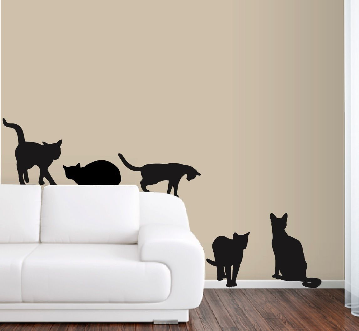Details About 6 Cats Wall Decals In Life Size Wall Stickers