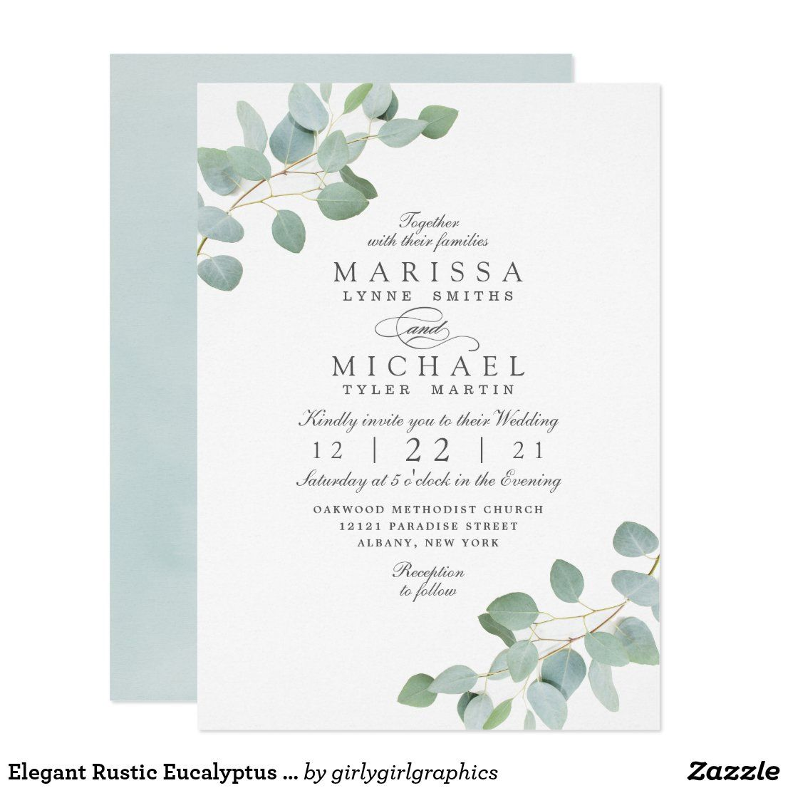 Elegant Rustic Eucalyptus Chic Wedding Invitation