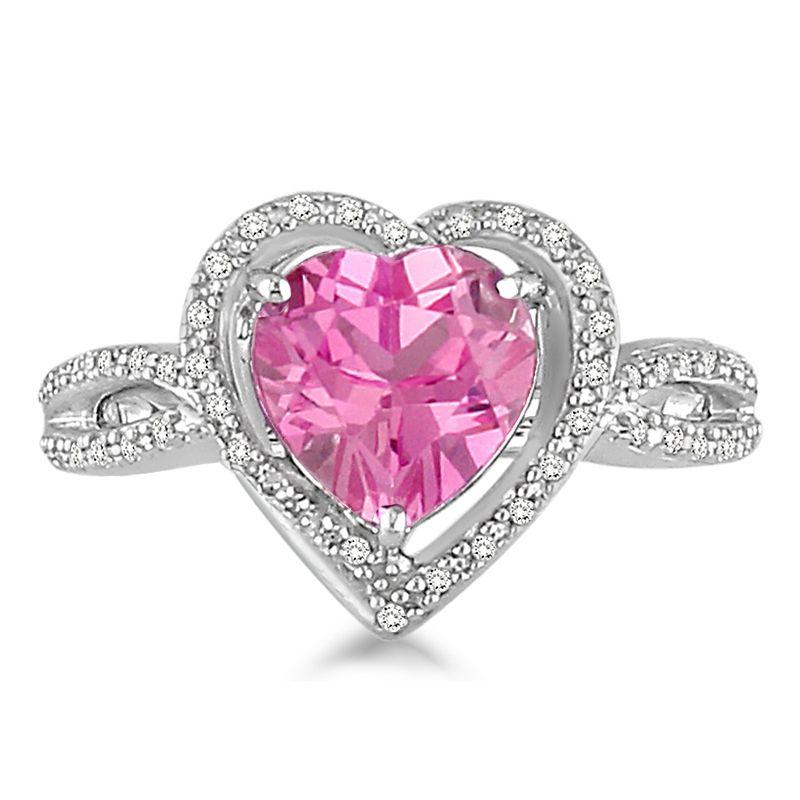 rosa saphir und diamant herz ring in 14 karat weissgold. Black Bedroom Furniture Sets. Home Design Ideas