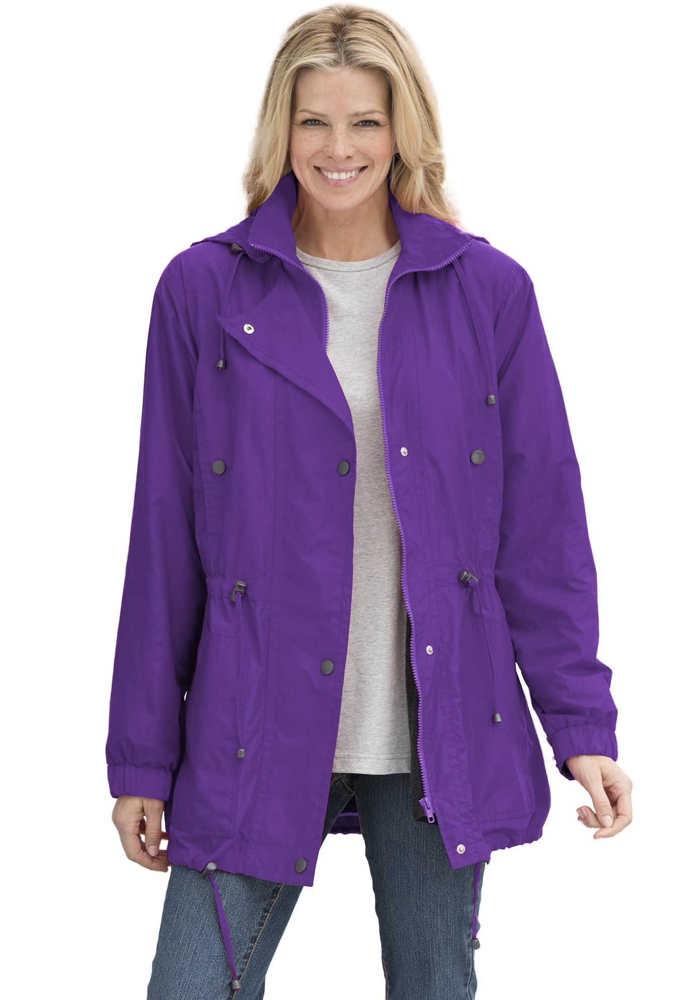 0803a357050 Woman Within plus size jacket anorak in weather-resistant Taslon ...