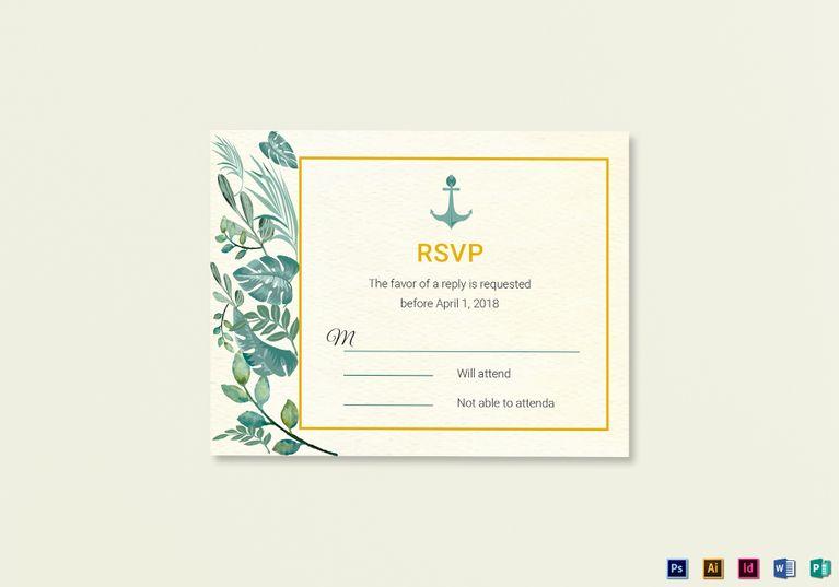 Nautical Wedding RSVP card Template Wedding Invitation Designs