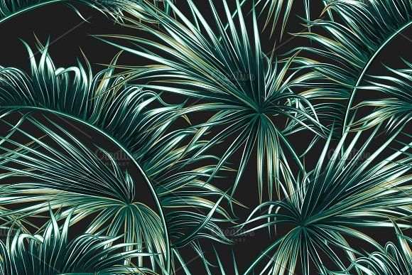 Tropical Palm Leaves Pattern Graphics Beautiful Seamless Vector Adorable Tropical Leaves Pattern