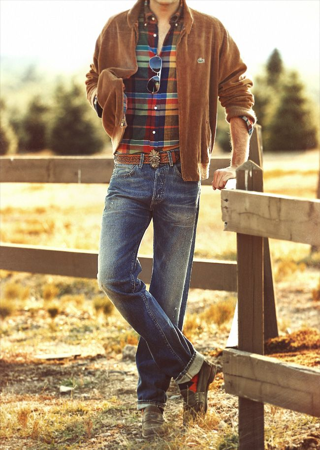 Men's Corduroy Jacket, Plaid Shirt, Jeans. the fall outfit for men.