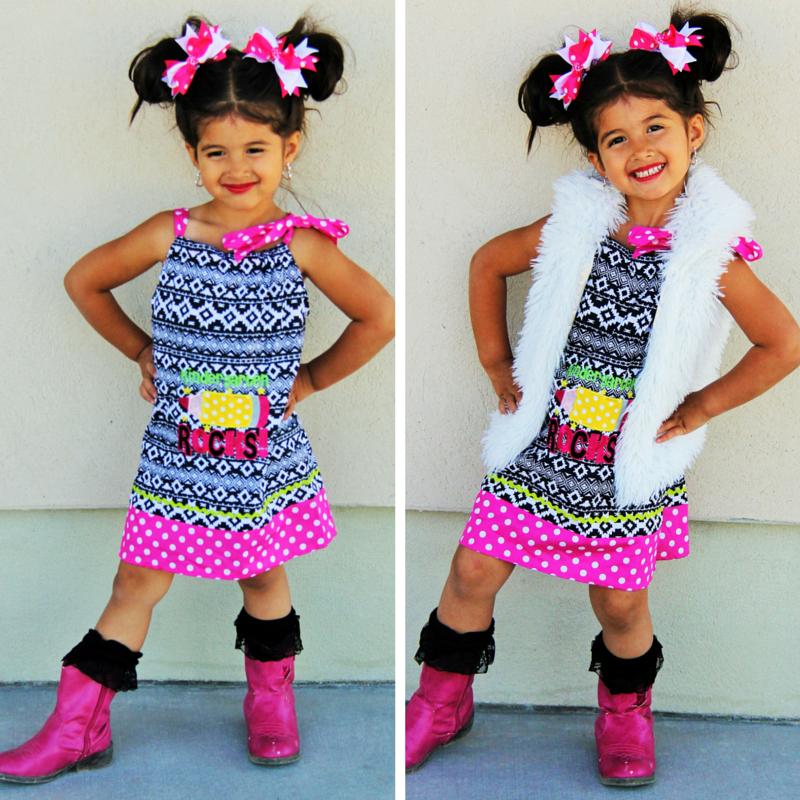 """Kindergarten Rocks"" Dress #boutique-outfits #dresses #new #newborn-clothing #newborn-clothings #newborn-sets #perfect-sets #school"